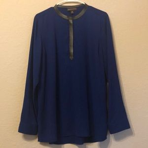 NWOT cobalt and black faux leather top XL